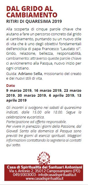 Parole Di Vita Calendario 2019.Dal Grido Al Cambiamento Casa Di Spiritualita